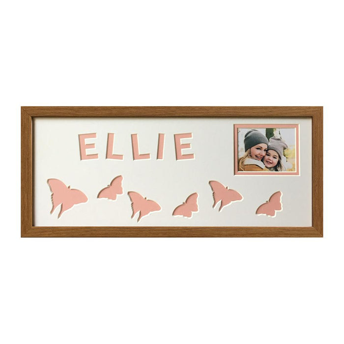 Butterfly Photo Oak Frame - Pink