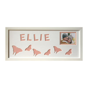 Butterfly Name Photo Frame - Pink