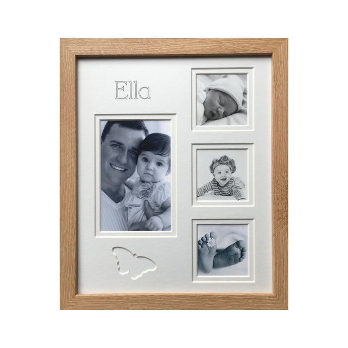 Customised Name Butterfly Multi Collage Photo Frame 12 x 10 Beech