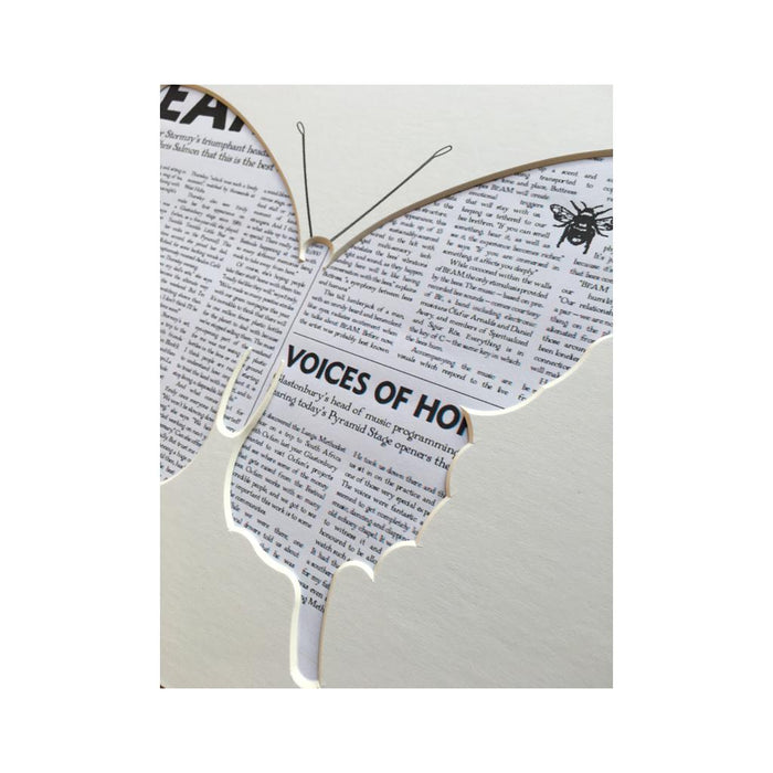 Butterfly Silhouette Mount - newspaper