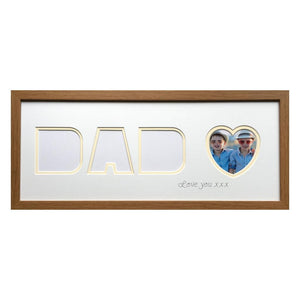 Love You Dad Heart Photo Frame - Oak