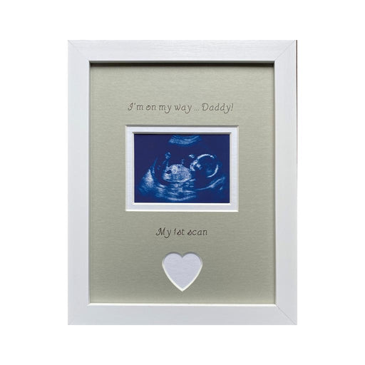 On My Way Daddy 1st Scan Pregnancy Photo Frame 9 x 7 White