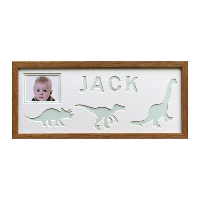 Dinosaur oak frame - Blue background
