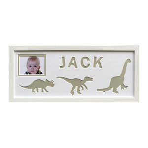 Dinosaur Personalised Photo Frame - Grey