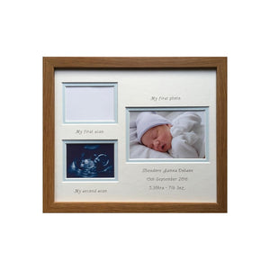 Double scan and 1st photo frame 12 x 10 dark oak - Landscape