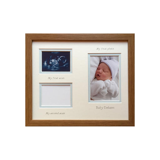 Double scan and 1st photo frame 12 x 10 dark oak - Portrait