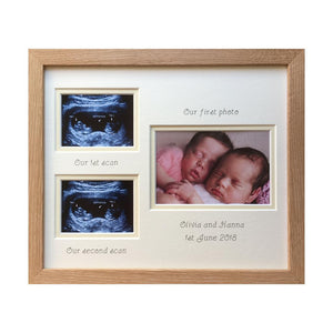Double Scan Twins Photo Frame - Beech