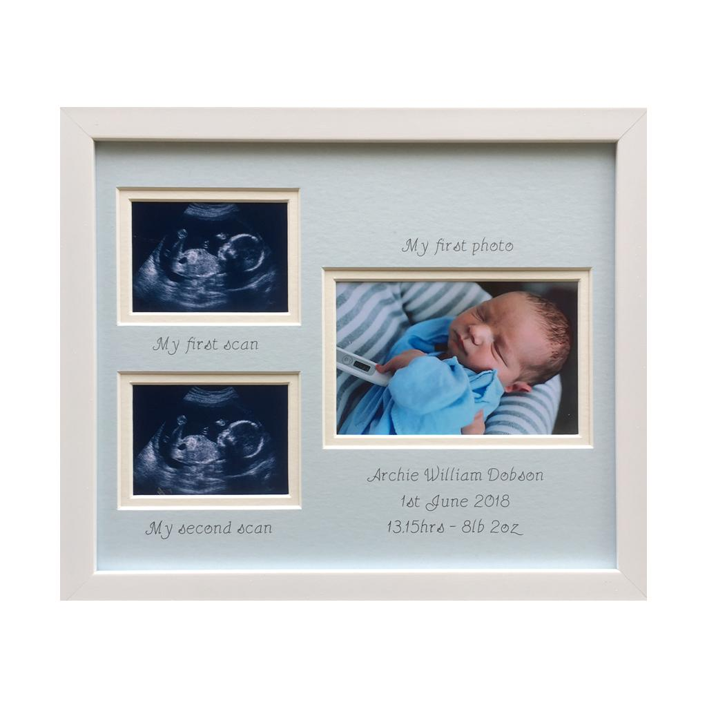 Personalised Double Scan Photo Frame, White - Boy