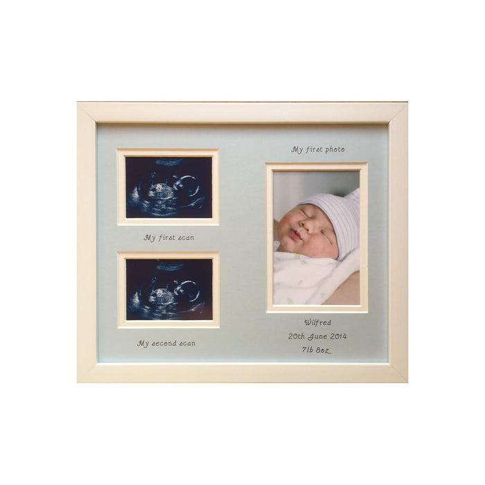 Personalised Double Scan Photo Frame, Portrait - Boy