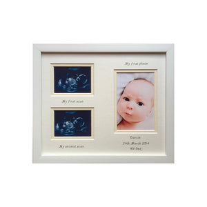 Double scan baby photo frame white/cream 12 x 10
