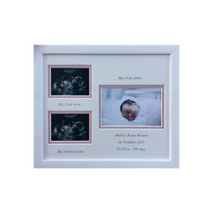 Personalised Girl 1st and 2nd Scan Double Picture Frame Landscape