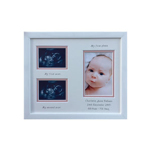 Personalised Girl 1st and 2nd Scan Double Picture Frame 12 x 10 White
