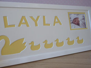 Personalised girl name photo frame Duck theme