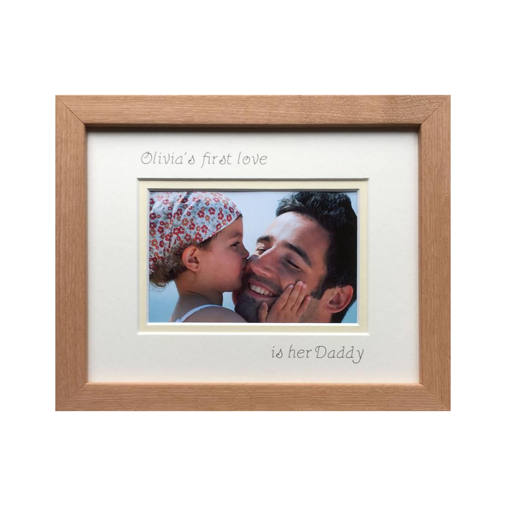 Personalise Girl Name 1st love is her Daddy Picture Beech Frame Landscape