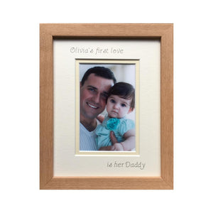 Personalise Girl Name 1st love is her Daddy Picture Beech Frame Portrait