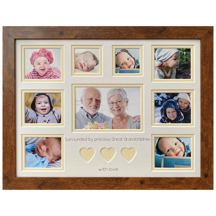 Surrounded by Precious Great Grandchildren Picture Frame - Cream Heart