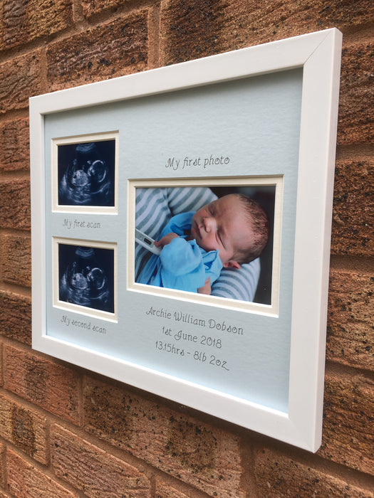 Personalised Double Scan Photo Frame, Blue Mount - Boy