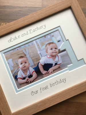 Personalised Twins Triplets Birthday Frame 9 x 7