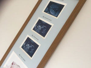 Blue Triple Baby Scan & 1st Photo Frame - Oak
