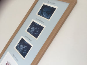 Blue Personalised Triple Scan Baby Photo Frame 20 x 8, Beech
