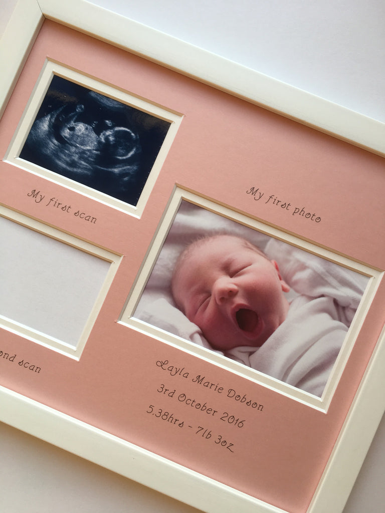 Baby Double Scan and First Photo Frame 12 x 10 Pink