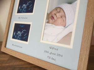 Personalised Baby Boy Double Scan Photo Beech Frame Portrait