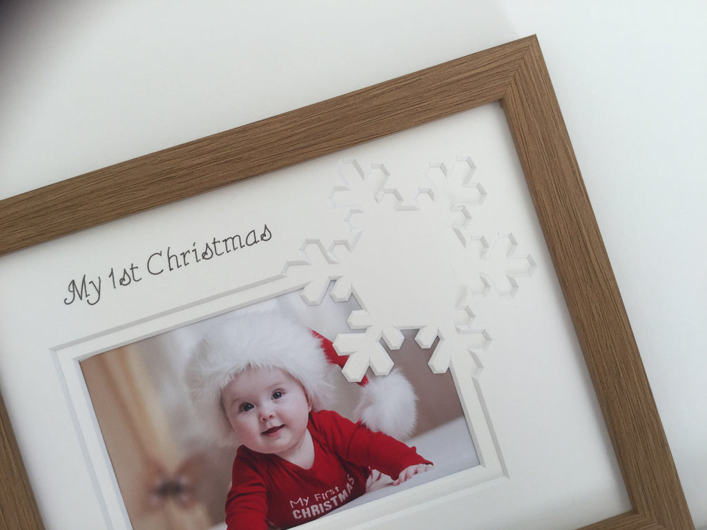 Personalised My First Christmas Photo Frame Snowflake 9 x 7 Oak
