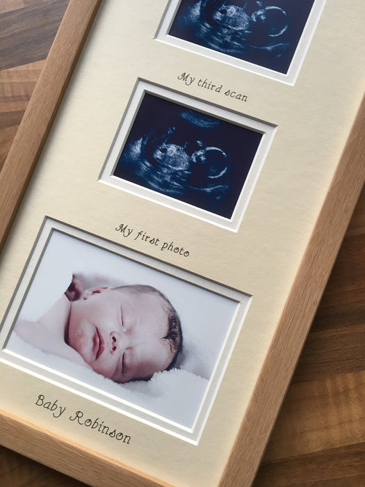 Personalised Triple Baby Scan Photo Frame Cream 20 x 8 Beech