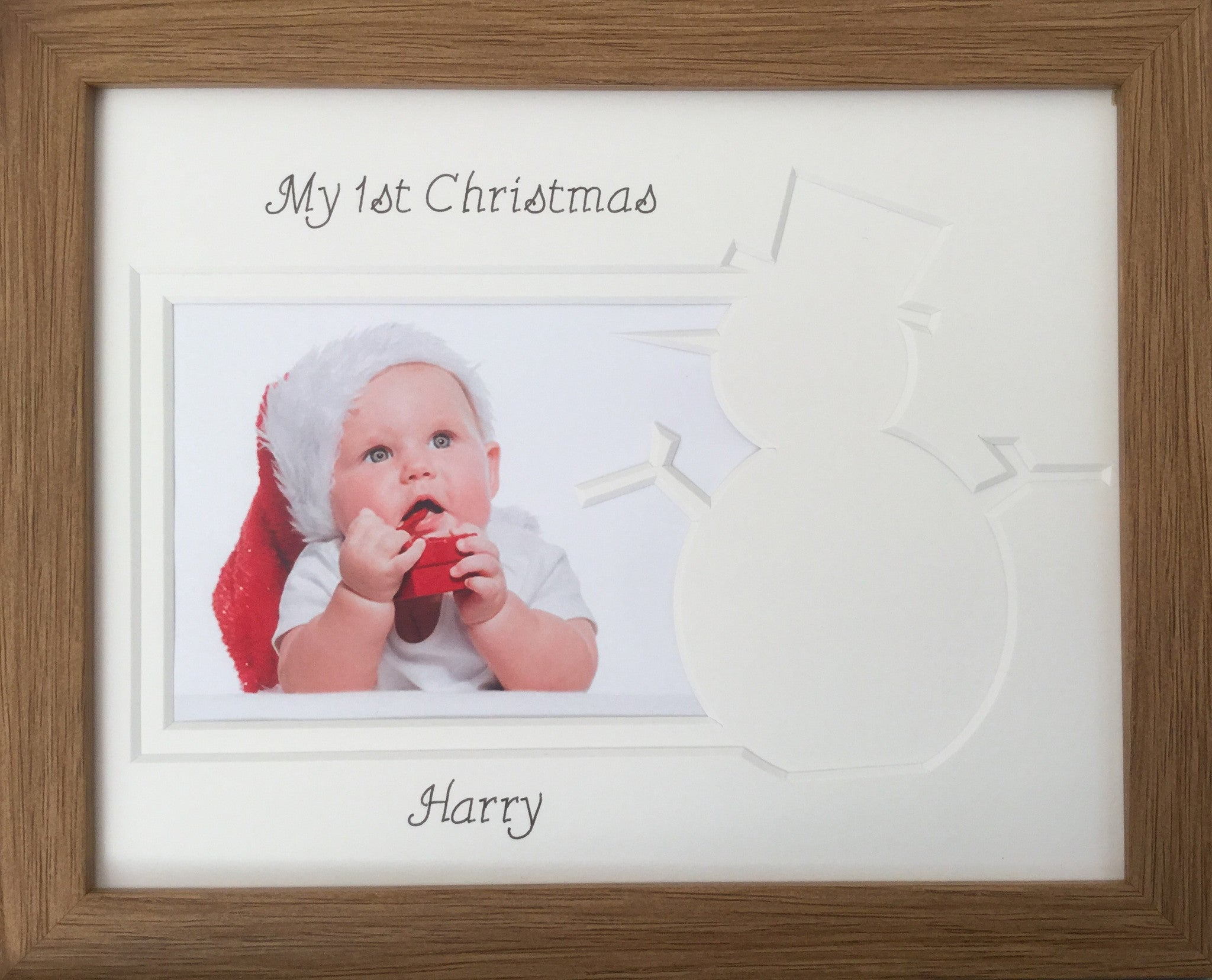 Personalised My First Christmas Photo Frame Snowman 9 X 7 Oak
