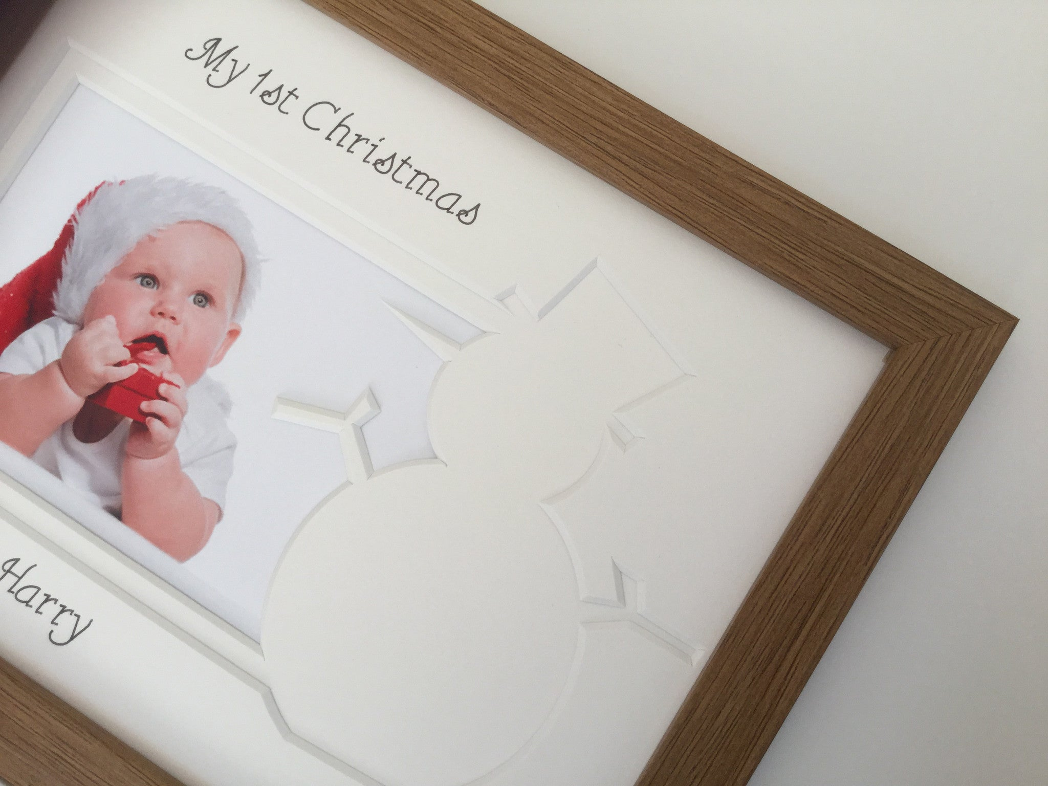 Personalised My First Christmas Photo Frame Snowman 9 x 7 Oak ...