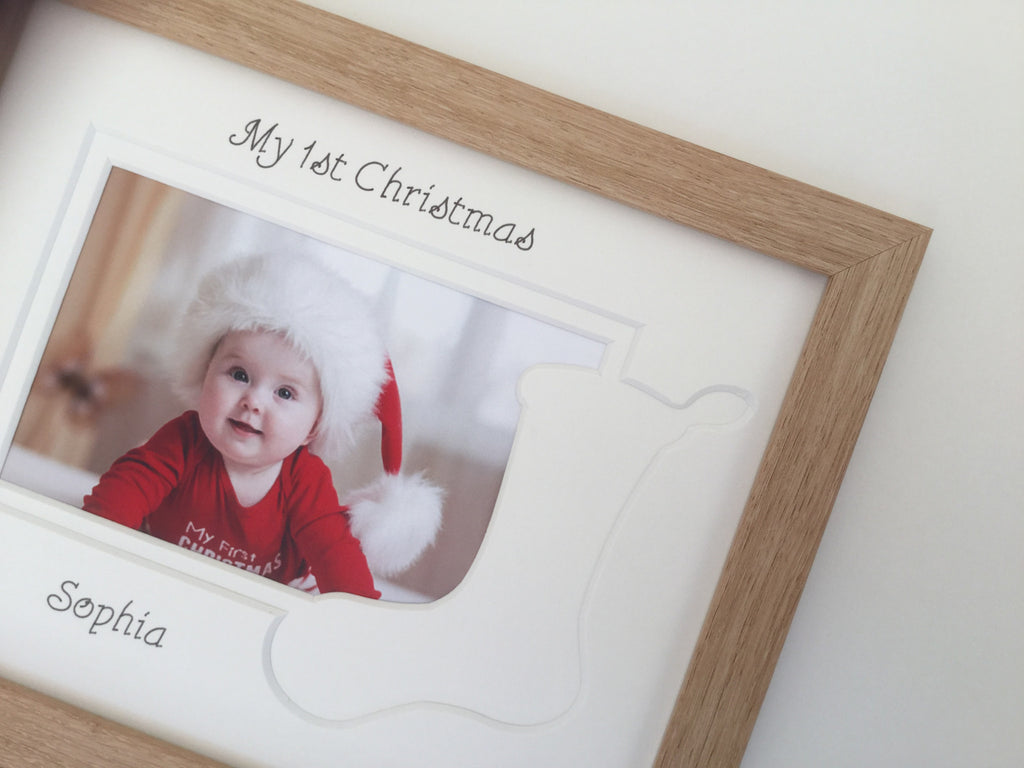 Personalised My First Christmas Photo Frame Stocking 9 x 7 Beech