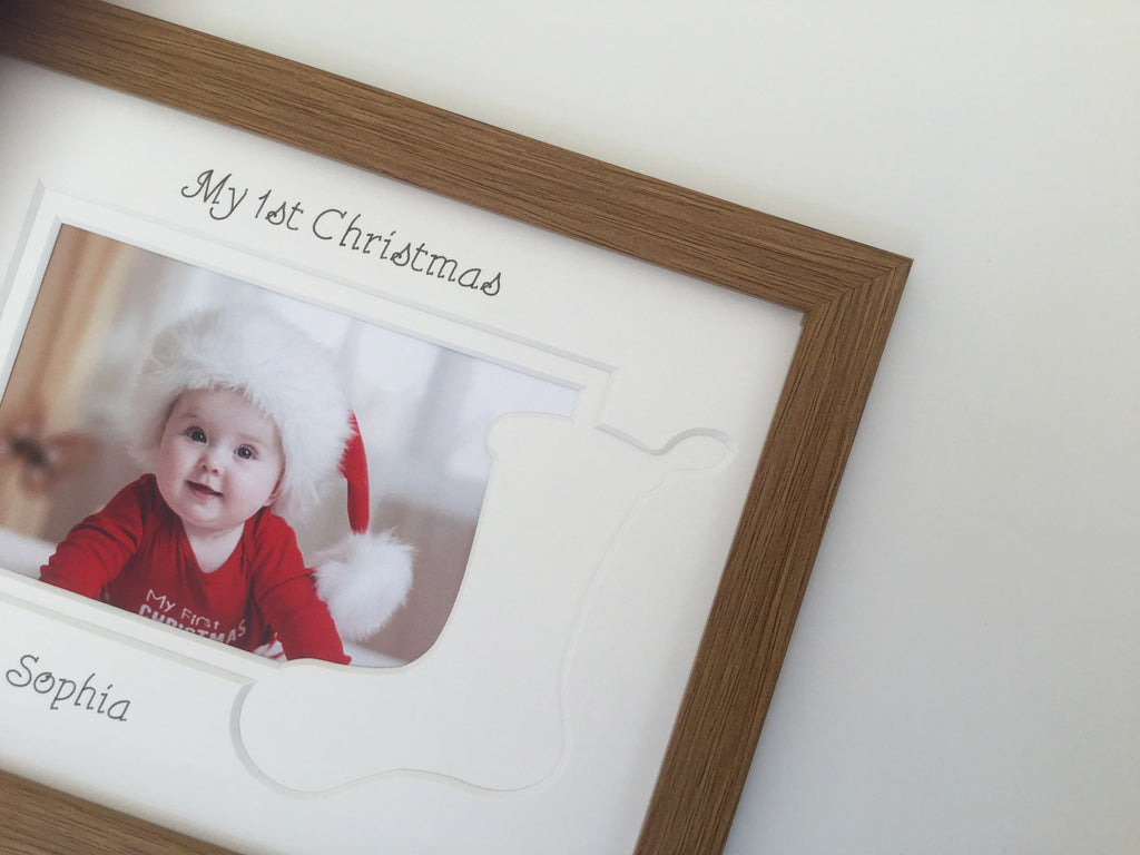 Personalised My First Christmas Photo Frame Stocking 9 x 7 Oak