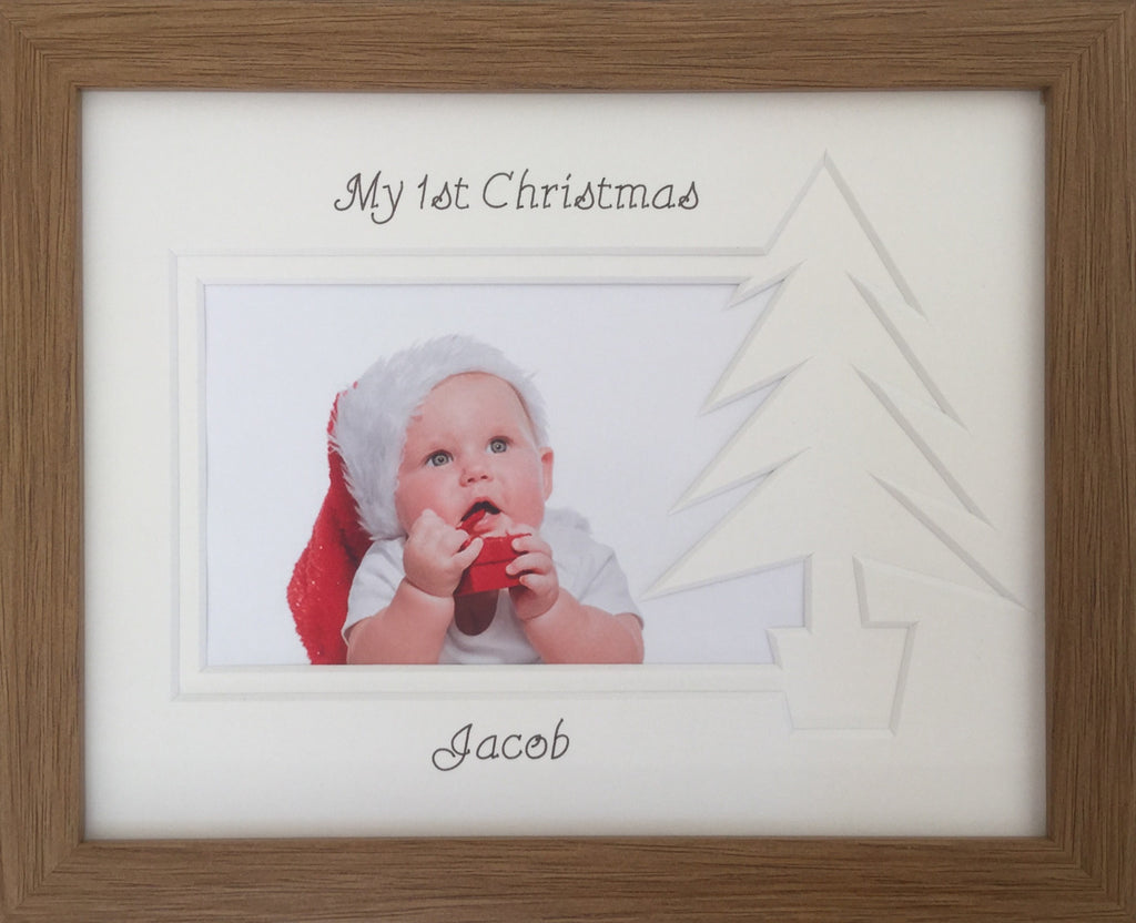 Personalised My First Christmas Photo Frame Christmas Tree 9 x 7 Oak