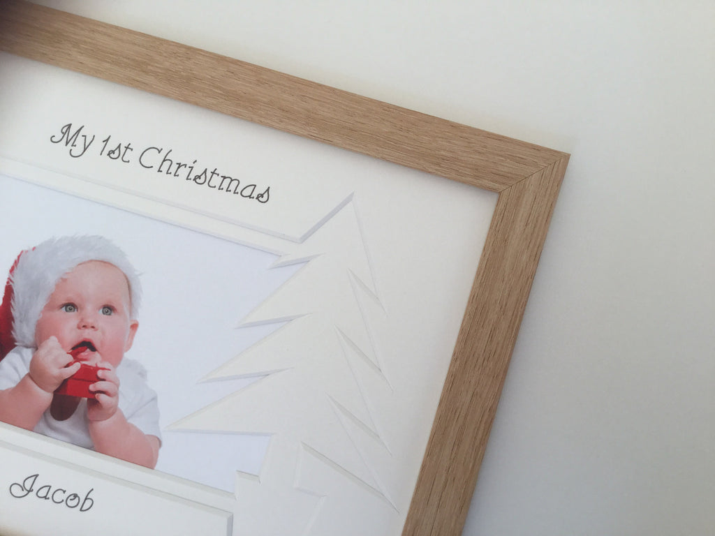 Personalised My First Christmas Photo Frame Christmas Tree 9 x 7 Beech