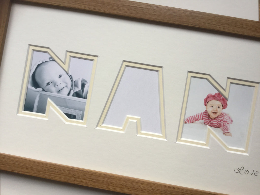 Nan Heart Collage Frame Oak 20 x 8