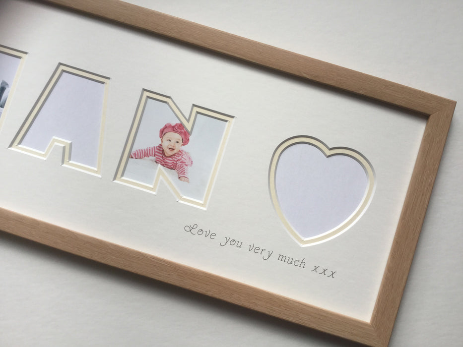 Love You Nan Heart Photo Frame 20 x 8