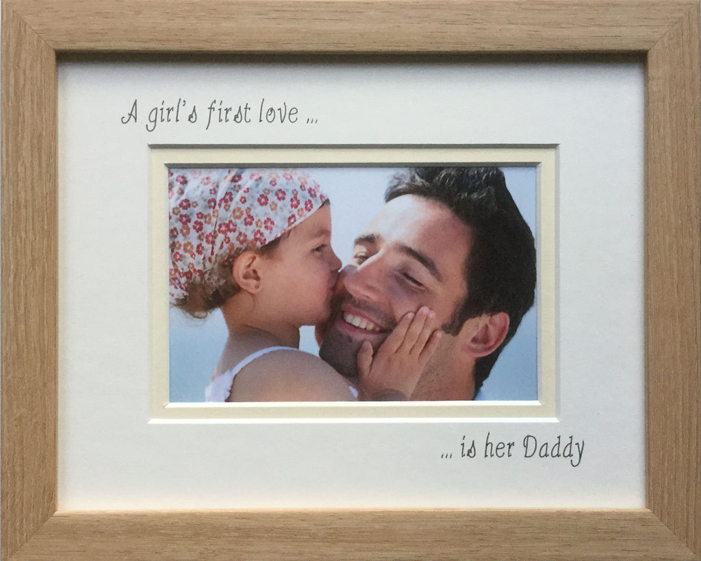A Girls First Love is her Daddy Photo Frame - Landscape, Beech