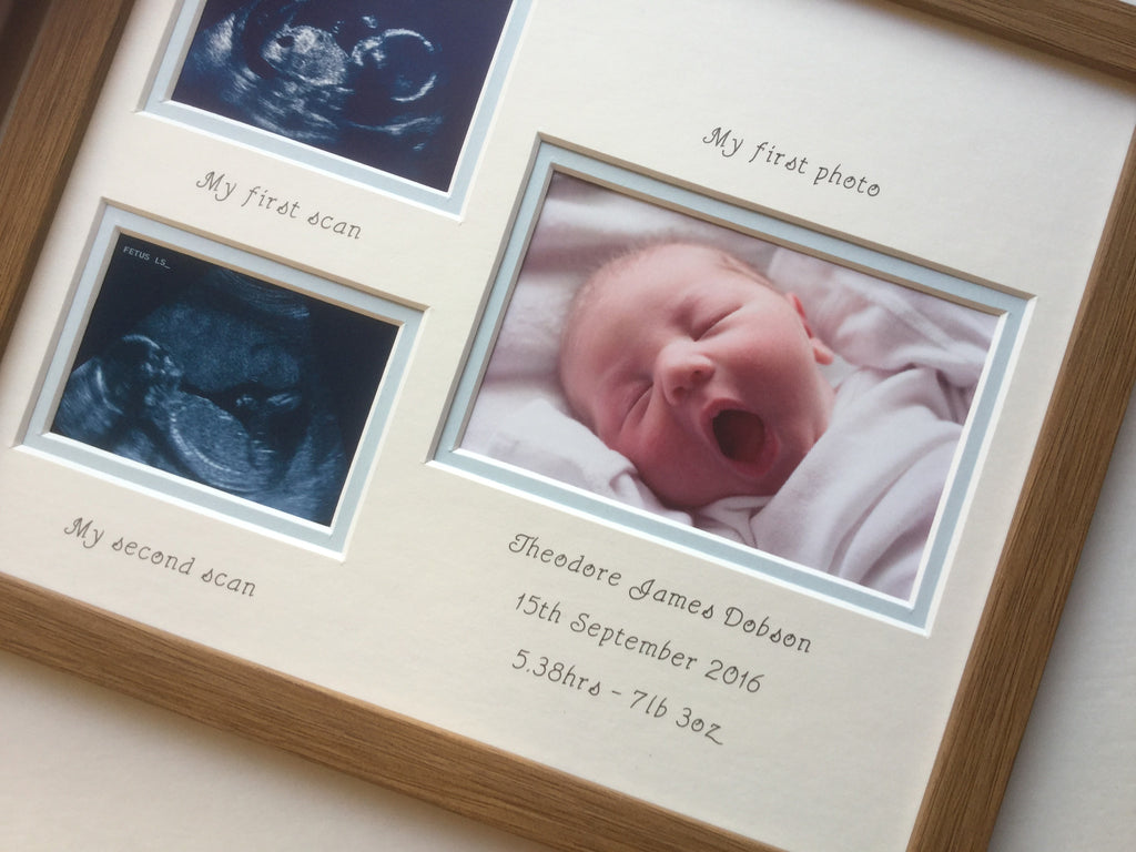 Personalised Baby Boy 1st/2nd Scan and First Photo Frame 12 x 10 - Oak