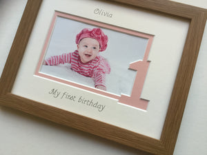 Personalised Baby Girl My 1st Birthday Photo Frame Oak