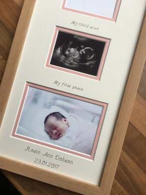 PERSONALISED TRIPLE BABY GIRL BABY SCAN PHOTO FRAME 20 X 8 BEECH