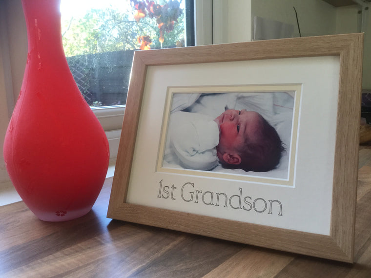 First Grandson Photo Frame Beech