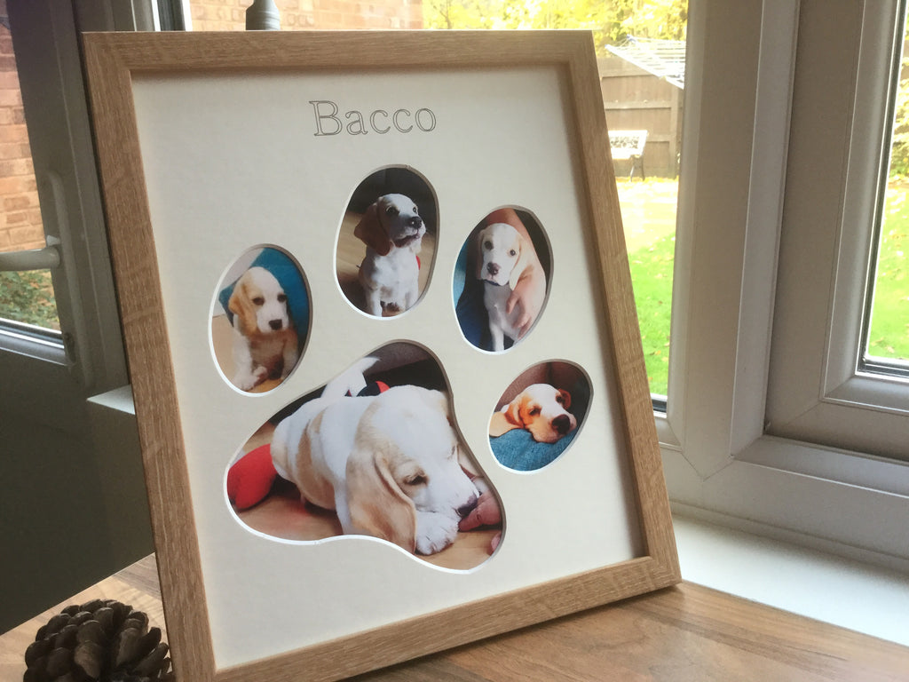 Personalised New Puppy Paw Photo Frame Beech