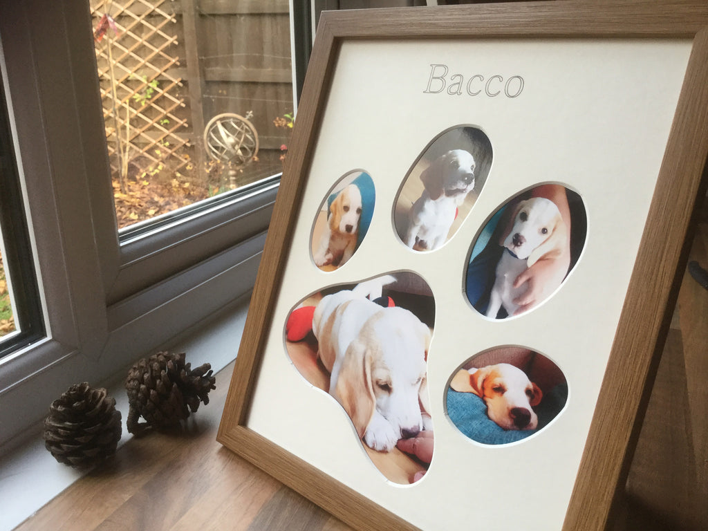 Personalised New Puppy Paw Photo Frame Oak
