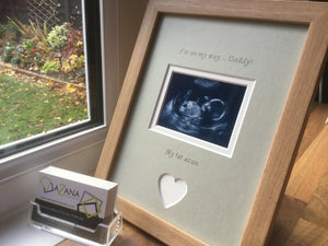 Im on my way Daddy 1st Baby Scan Photo Frame Beech, Gre
