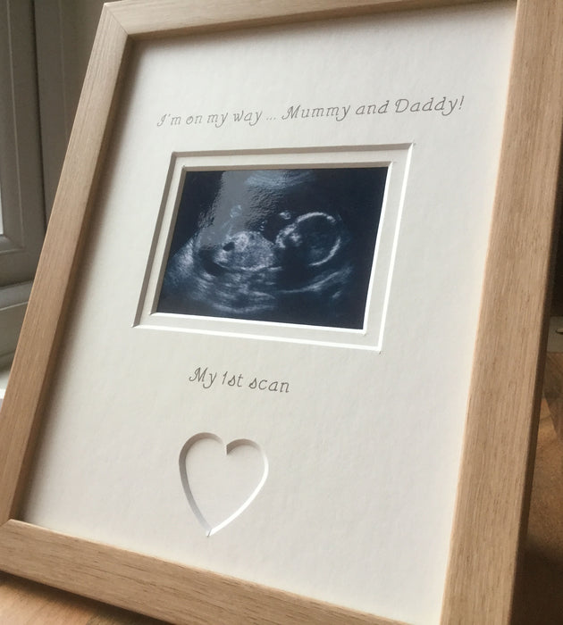 Mummy and Daddy 1st scan Photo Frames Beech