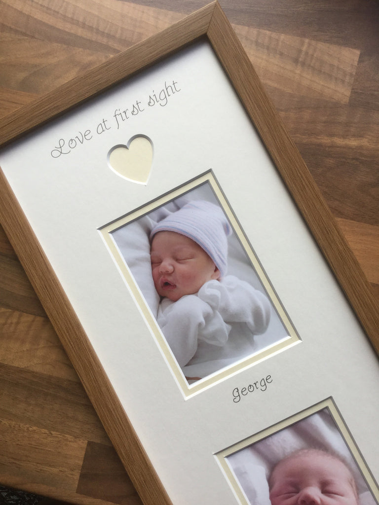 Love at First Sight Personalised 2 x Baby Photo Frame Oak
