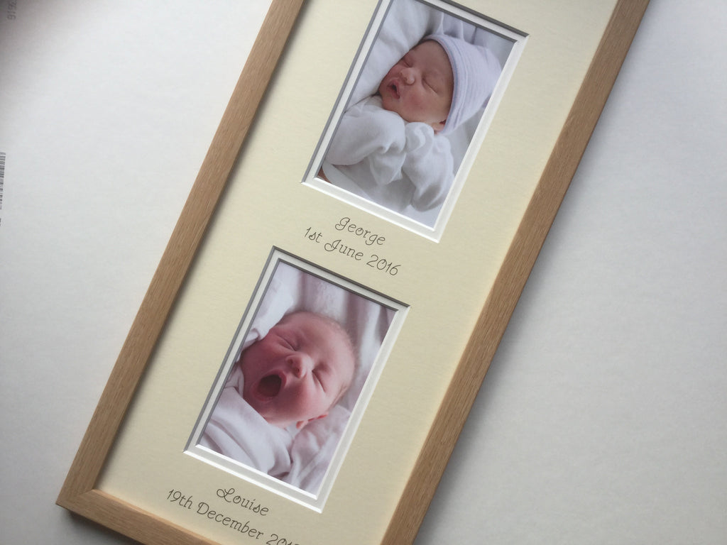 Love at First Sight Personalised 2 x Baby Photo Frame Beech