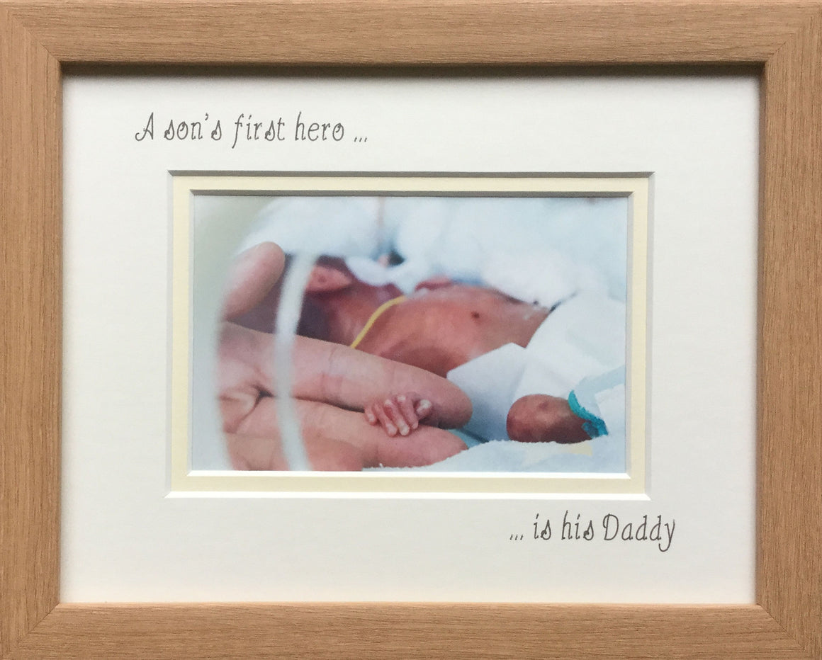 A Sons First Hero is his Daddy Photo Frame Landscape Oak