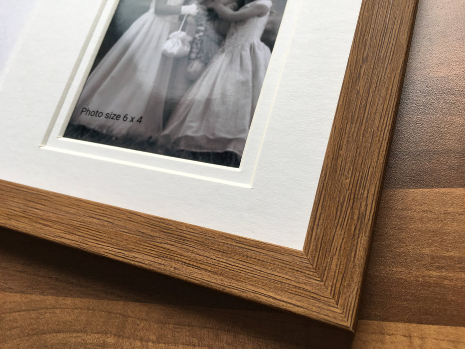 Mr & Mrs Collage Personalised Picture Frame - Everest Oak Colour