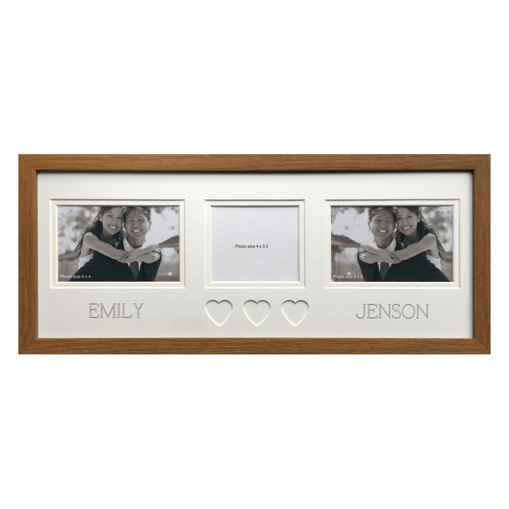 Personalised Couples Heart Photo Frame 20 x 8 Oak